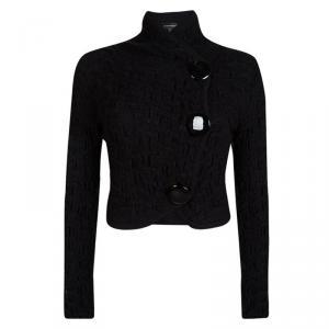 Emporio Armani Black Knit Cropped Cardigan M