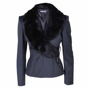 Emporio Armani Dark Grey Fur Collar Jacket S