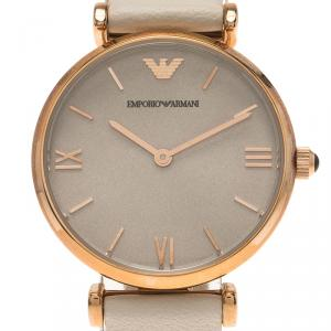 Emporio Armani Silver Rose Gold-Plated Stainless Steel AR1769 Women's Wristwatch 32MM