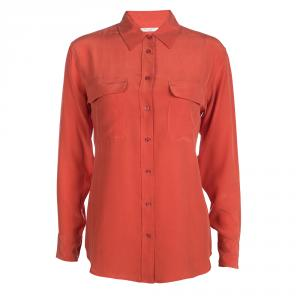 Equipment Fiery Red Silk Signature Button Front Shirt XS