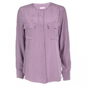 Equipment Purple Printed Silk Long Sleeve Blouse M