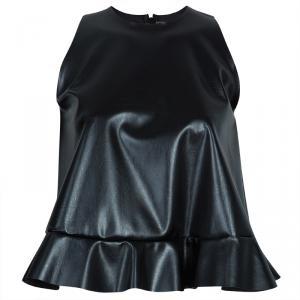 Essa Walla Black Sleeveless Pleather Top S/M