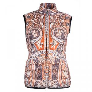Etro Orange Paisley Printed Quilted Puffer Vest S
