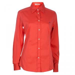 Etro Orange Cotton Button Down Shirt M