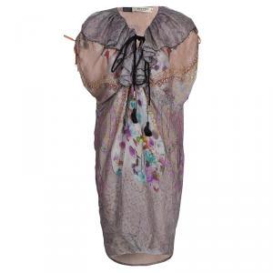 Etro Printed Ruffle Collar Tassel Tie-Up Crushed Silk Dress M