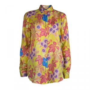 Etro Yellow Floral Printed Silk Long Sleeve Button Front Shirt L