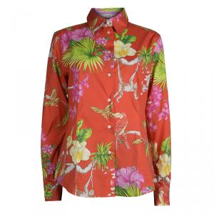 Etro Red Floral Printed Cotton Long Sleeve Button Front Shirt L