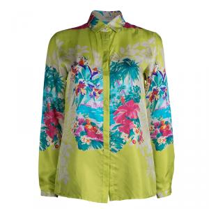 Etro Lime Green Floral Printed Silk Long Sleeve Button Front Shirt S