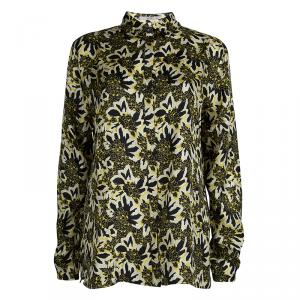 Etro Black and Yellow Floral Printed Silk Long Sleeve Button Front Shirt L