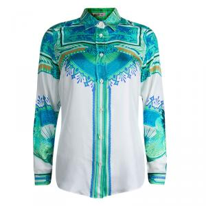 Etro White Printed Silk Long Sleeve Button Front Shirt M