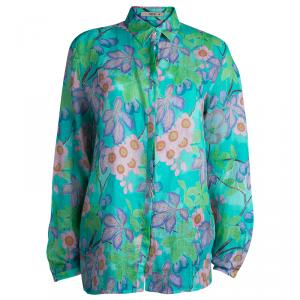Etro Green Floral Printed Long Sleeve Button Front Shirt L