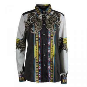 Etro Multicolor Printed Long Sleeve Button Front Cotton Shirt XL