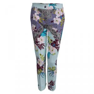 Etro Multicolor Floral Printed Textured Cotton Trousers M