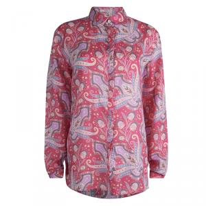 Etro Pink Ramie Floral Paisley Printed Button Down Shirt L