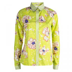 Etro Lime Green Floral Printed Long Sleeve Button Front Shirt M