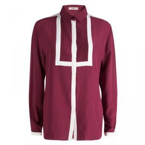 Etro Pink Silk Pintuck Detail Contrast Trim Long Sleeve Blouse L