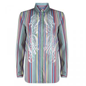 Etro Multicolor Striped Printed Cotton Long Sleeve Shirt M