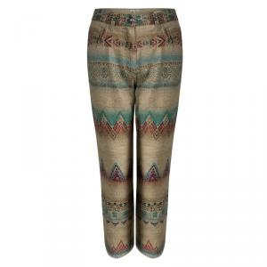 Etro Beige Aztec Printed Textured Fringed Bottom Trousers S