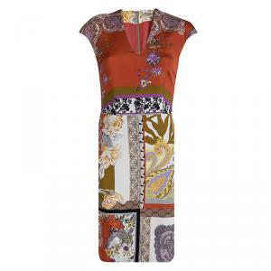 Etro Multicolor Printed Cap Sleeve Sheath Dress S
