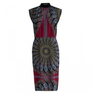 Etro Multicolor Printed Silk Cap Sleeve Sheath Dress M