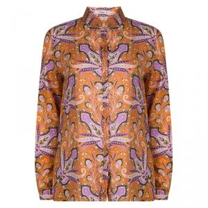 Etro Orange Paisley Printed Long Sleeve Button Front Shirt M