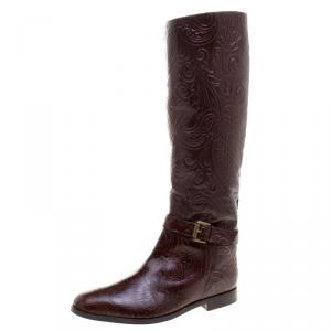 Etro Brown Paisley Embossed Leather Knee High Boots Size 40