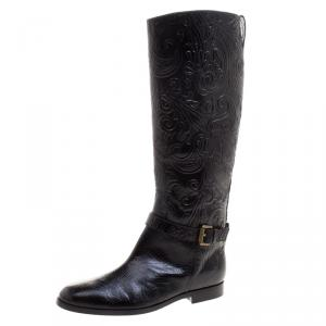 Etro Black Paisley Embossed Leather Knee High Boots Size 40