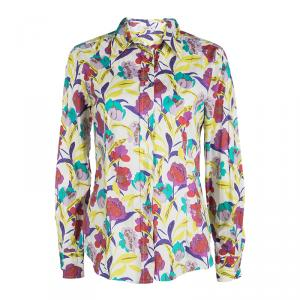 Etro Multicolor Floral Printed Long Sleeve Button Front Shirt L