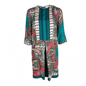 Etro Multicolor Printed Silk Long Sleeve Dress S