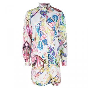 Etro Multicolor Paisley Printed Cotton Long Sleeve Shirt Dress M
