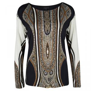 Etro Multicolor Ethnic Print Jersey Long Sleeve Top M