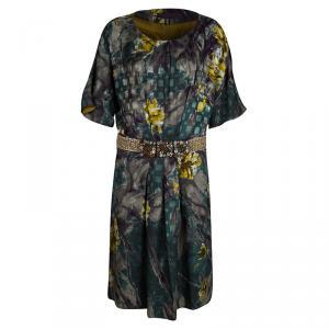Etro Multicolour Print Embellished Waist Detail Short Sleeve Dress L