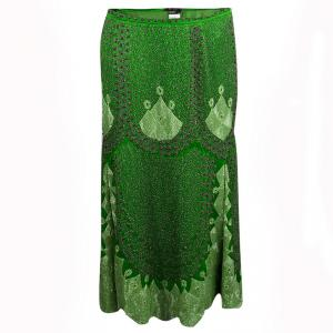 Etro Parrot Green Silk Hand Embellished Beadwork Midi Skirt M