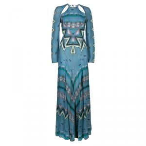 Etro Blue Printed Long Sleeve Maxi Dress S