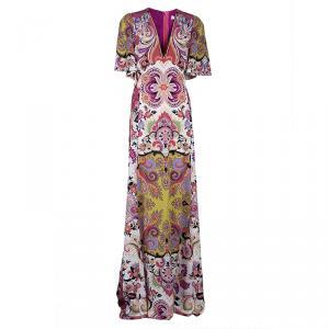 Etro Multicolor Printed Short Sleeve Maxi Dress L