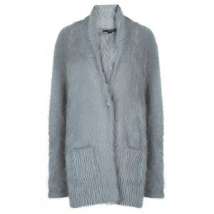 Etro Grey Angora Buttoned Cardigan M