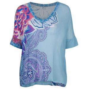 Etro Blue Multicolor Print Short Sleeve Sweater S