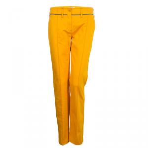 Etro Mustard Yellow Pintuck Detail Trousers M
