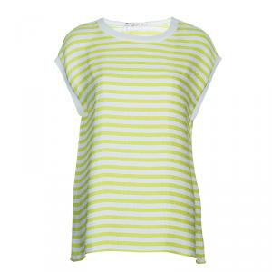Etro Green Striped Short Sleeve Top L
