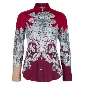 Etro Red Printed Long Sleeve Buttondown Cotton Shirt  S