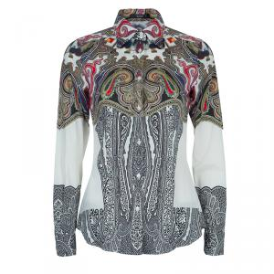 Etro Off-White Printed Long Sleeve Buttondown Cotton Shirt S