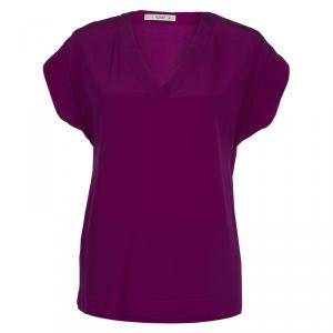 Etro Purple Silk Short Sleeve Blouse S