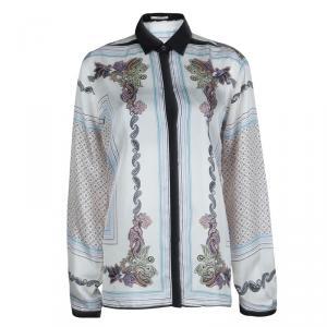 Etro White Printed  Long Sleeve Buttondown Silk Shirt XL