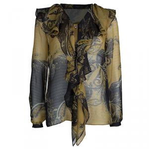 Etro Multicolor Printed Crinkled Silk Chiffon Ruffle Detail Sheer Long Sleeve Blouse M