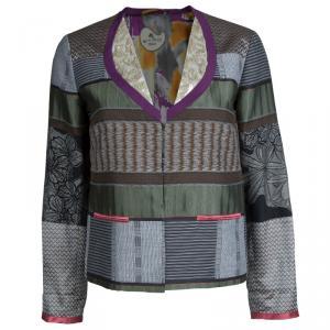 Etro Multicolor Jacquard Patchwork Sequin Embellished Blazer M