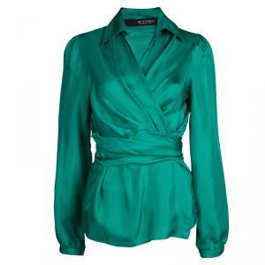 Etro Green Silk Draped Long Sleeve Wraparound Blouse M