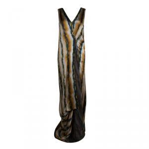 Etro Animal Printed Silk Draped Sleeveless Maxi Dress S