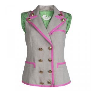 Etro Beige Linen Double Breasted Sleeveless Jacket M
