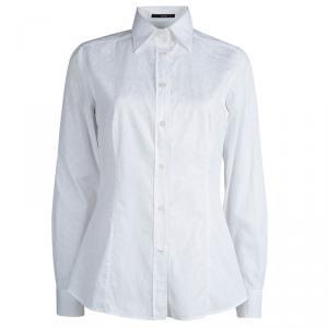 Etro White Paisley Pattern Cotton Jacquard Shirt M