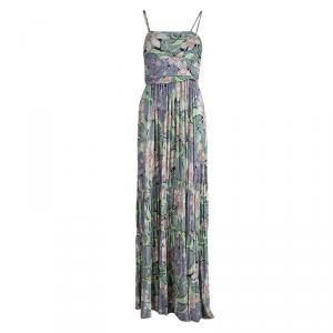 Etro Multicolored Printed Gathered Maxi Dress M